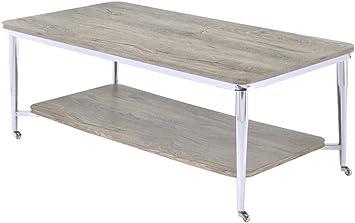 Amazon Com Acme Furniture Lukey Coffee Table Weathered Oak Chrome Furniture Decor