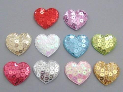 Appliques Decorative Patches Embellishments Padded Sequin Heart Applique Sewing Craft Trim for Embroidery Machine Baby Clothes Multi-Color 1 1/4