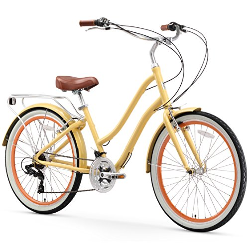 sixthreezero EVRYjourney Women's 21-Speed Step-Through Hybrid Cruiser Bicycle, Cream w/Brown Seat/Grips, 26' Wheels/ 17.5' Frame