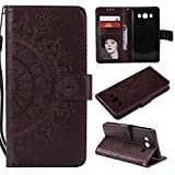 Galaxy J7 2016 Floral Wallet Case,Galaxy J7 2016 Strap Flip Case,Leecase Embossed Totem Flower Design Pu Leather Bookstyle Stand Flip Case for Samsung Galaxy J7 2016-Brown