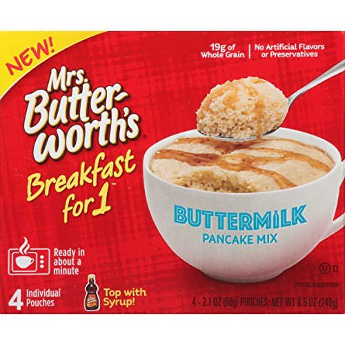 Mrs. Butterworth's Breakfast for 1, Single Serve Pancake Mix, Warm Breakfast in Minutes, Buttermilk, 4 Pouches