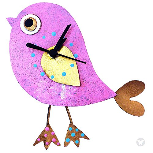 Oxidos Handmade Little Tweet Wall Clock with Swinging Pendulum Feet (Pink)