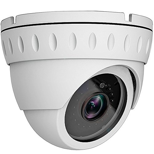 2MP Wide Angle (AHD TVI CVI 960H) Indoor Outdoor Dome CCTV Camera, Honic 1080P Day Night Vision Security IR Analog Camera, Waterproof Full HD Eyeball Cam for Home Video Surveillance (Metal, White) by honic