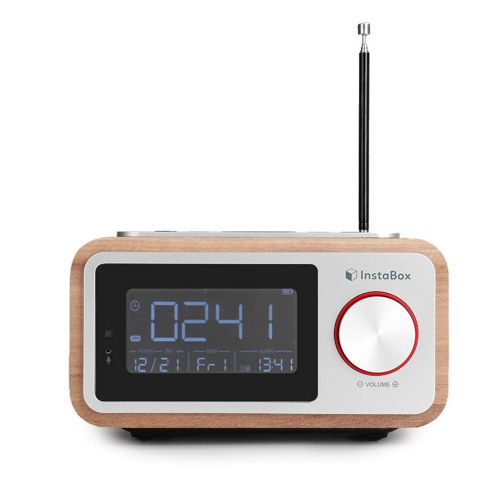 InstaBox i30 Multi-Functional Portable Retro Wooden Clock Radio with Dual Bluetooth Speaker, Digital FM Radio MP3 Player, Supports Micro SD/TF Card and USB with Remote Control