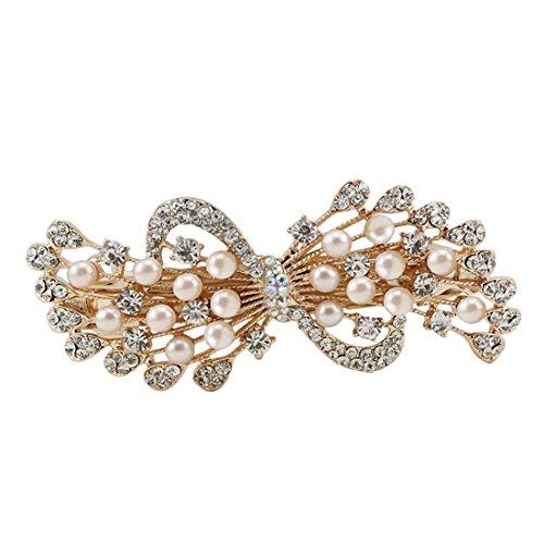 - Voberry Fashion Women Rhinestone Barrettes Summer Joker Pearl Spring Clip Headwear Accessories1 Pcs (A)