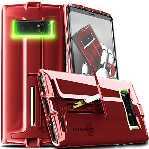 CASE FORCE Samsung Galaxy Note 8 Case with Kickstand Heavy Duty Military Grade Drop Protection, Full-Coverage Design of Polycarbonate Layer Material Case,Wireless Charging Compatible(red)