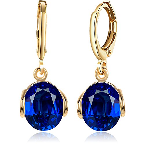 BEMI Elegant Gold/Silver Plated Polishing Princess Cut Teardrop Crystal Dangle Earrings Clip-on for Woman Blue Oval