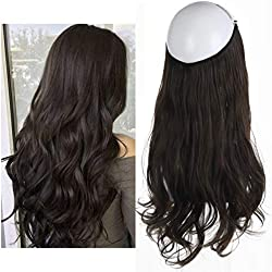"Dark Brown Hair Extension Halo Hairpiece Long 18"" Secret Natural Wavy Synthetic Hair Pieces For Women Flip in Hidden Wire Crown Headband Japan Heat Temperature Fiber No Clip in(M01#6Dark Brown)"
