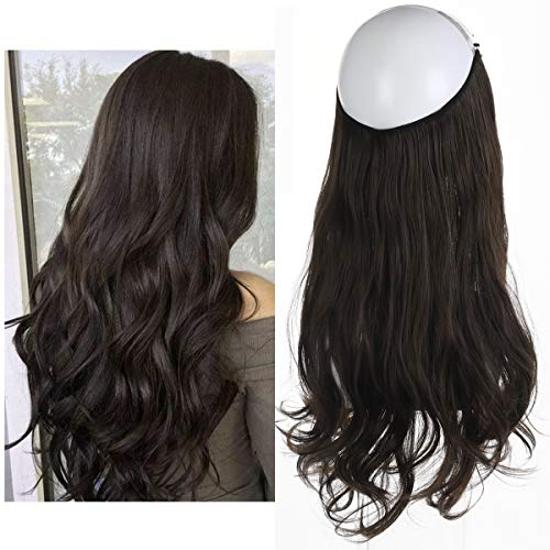 Dark Brown Hair Extension Halo Hairpiece Long 18
