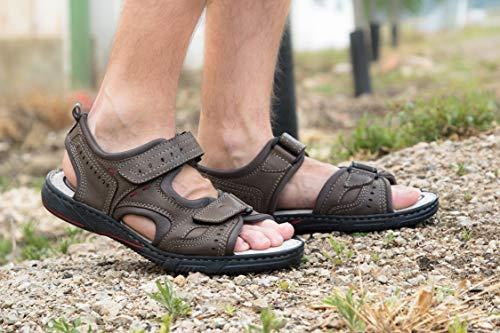 Zerimar Sandals Cuoio Trekking Sandali Da Hiking Di Man Uomo Grigio Estivi AZqaACw