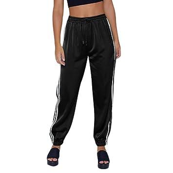 655ce64583b23 ZHRUI Pantalon de Sport Femme à Rayures en Satin élastique à la Cheville  (coloré :