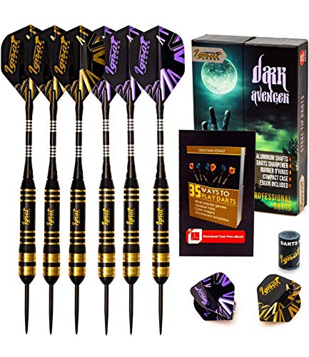 IgnatGames Steel Tip Darts Set - Professional Darts with Aluminum Shafts, Rubber O'Rings, and Extra Flights + Dart Sharpener + Innovative Case + Darts Guide (26g Dark Avenger)