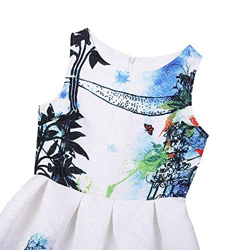 Tiaobug Enfants Filles Robe Imprimée Robes Sans Manches Swing Rétro D'anniversaire De Fête De Mariage Robe Formelle D'une Ligne Casual Bleu Blanc