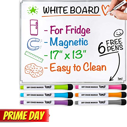 Magnetic Whiteboard for Refrigerator - Dry Erase Board - Large Sheet for Fridge with No Staining Technology - Best for Smart Family Planners - Free Markers Included (Horizontal) ()