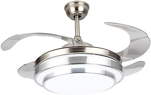 LgoodL - Ventilador de techo minimalista moderno, con cuatro aspas acrílicas transparentes para el techo, lámpara de araña para el salón, kit de luz de niquel cepillado (intensidad de soporte): Amazon.es: Bricolaje