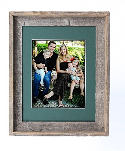 (BarnwoodUSA 16 by 20 Inch Signature Picture Frame Matted for 11 by 14 Inch Photos - 100% Reclaimed Wood, Hunter Green Mat)