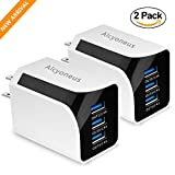 Wall Charger, Alcyoneus 2-Pack USB Wall Charger 36W/7.2A Universal Home Travel Wall Charger PowerPort 3 for iPhone 7/ 7 Plus/ 6s/ 6s Plus, iPad Pro/ Air 2/ mini 3/ mini 4, Samsung S4/ S5, and More