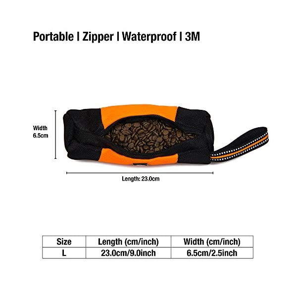 Raffaelo Dog Treat Bag Dog Training Bag Pouch Dog Food Storage for Puppy Dog Training and Outdoors Activities – (Orange… Click on image for further info. 4