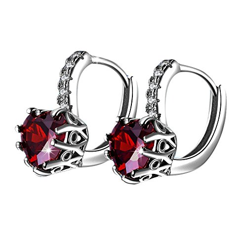 - Booboda Peach Heart Simple Fashion Diamond Stud Earrings Female Jewelry (Red)