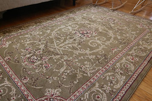 new city traditional isfahan floral persian wool area rug 5u00272 x 7u00273 green - 5x7 Area Rugs