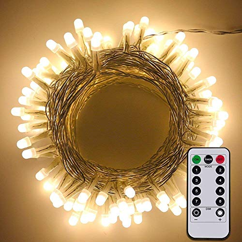 ErChen Battery Powered Dimmable Led String Lights, 33FT 100 LED (8mm bulb) PVC Wire 8 modes Décor Fairy Lights whit Remote and Timer for Indoor outdoor Patio Yard Wedding (warm - Christmas Ornament Cluster