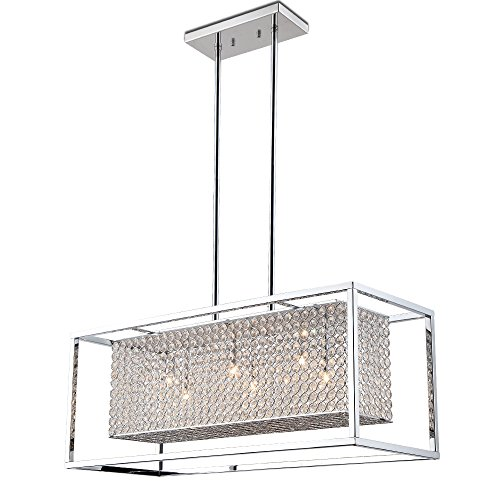 Deluxe Lamp Crystal Pendant Chrome 6 Light Linear Rectangular Chandelier