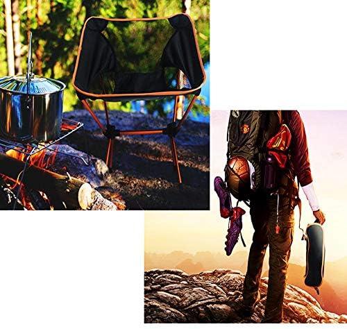 Pratique Chaise De Camping Pliante Ultra Légère Et Compacte pour La Plage, Les Voyages, La Randonnée, Le Pique-Nique Et Toutes Les Activités De Plein Air(Orange)