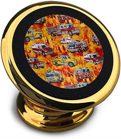 消防士消防車 携帯電話ホルダー おしゃれ 車載ホルダー 人気 磁気ホルダー 大きな吸引力 サポートフレーム 落下防止 360度回転