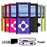 G.G.Martinsen Purple Versatile MP3/MP4 Player a 16GB Micro SD Card, Support Photo Viewer, Radio Voice Recorder, Mini USB Port 1.8 LCD, Digital MP3 Player, MP4 Player, Video/Media/Music Player
