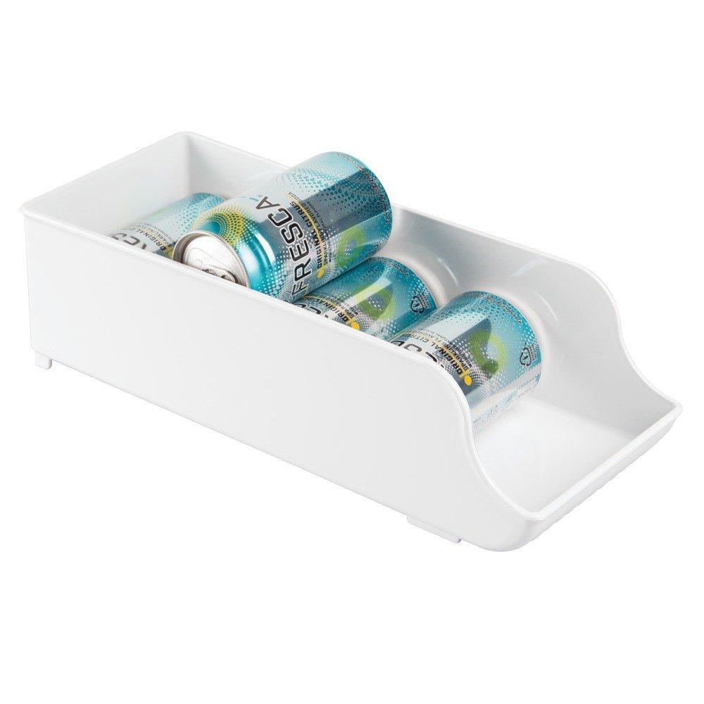 InterDesign Fridge/Freeze Binz Organizador de latas, Caja de plástico para 9 latas de Bebida, Organizador de Nevera, Blanco: Amazon.es: Hogar