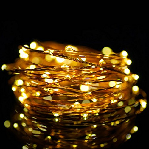ATTAV USB LED Fairy Lights, 33 Ft 100 LEDs Starry String Lights, Waterproof Copper Wire Lights for Bedroom Christmas Party Camping Wedding Dancing Patio (Warm White) -