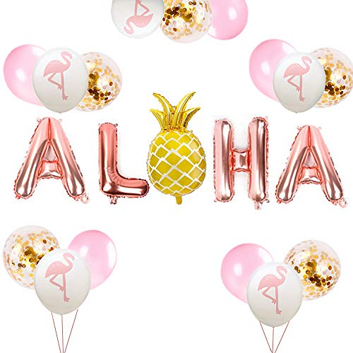 JeVenis Set of 16 Rose God ALOHA Balloon Pineapple Balloon ALOHA Banner Tropical Balloon Luau Balloon Summer Party Decoration Luau Party Supplies Tropical Party Balloon]()