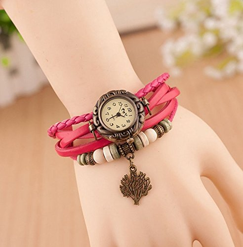 Hosaire Watch Bracelet Vintage Multilayer Weave Wrap Around Leather Chain Bracelet Quartz Wrist Watch with Tree Pendant for Women Men White by Hosaire (Image #6)