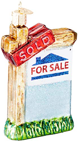 Old World Christmas Glass Blown Ornament Realty Sign (36203) ()