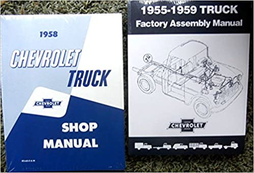 1958 chevy truck, pickup factory repair shop and service manual plus  factory assembly manual set cameo, conventional, low cab forward, forward  control,
