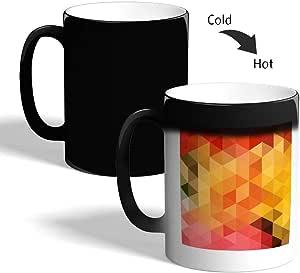 كوب القهوة السحري، بتصميم مربعات ملونة ، اسود