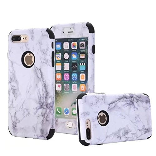 iPhone 7 Plus case, NOKEA [Marble Pattern] Three Layer Hybrid Heavy Duty Shockproof Protective Bumper Cover Soft Silicone Combo Hard PC Case for iPhone 7 Plus (Black) (Iphone 4 Hybrid 3 Piece Case)