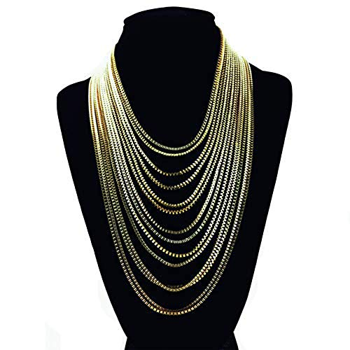 (Yozone Multilayer necklace Tassel Necklace Fashion Jewelry Multilevel Gold Silver Black Color Chain Necklace Shorts Women (Silver))