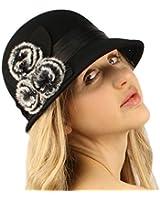 Winter Wool 1920s Flapper Faux Fur Satin Hatband Cloche Bucket Church Hat