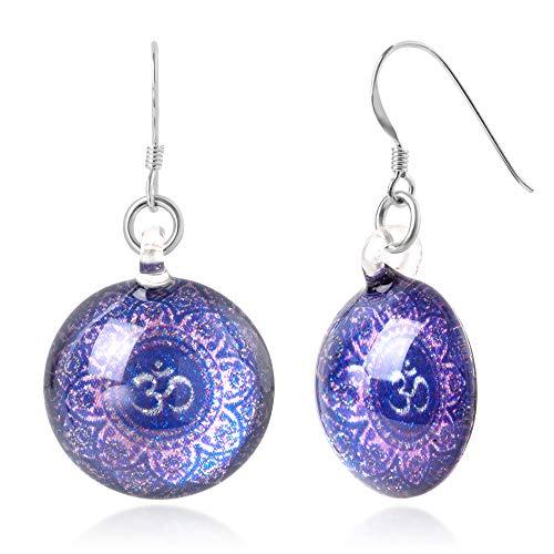 Sterling Silver Hand Blown Glass Violet Om Ohm Aum Symbol Mandala Design Round Dangle Earrings