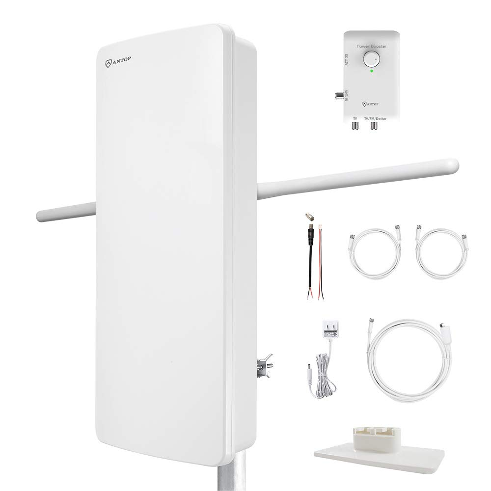 ANTOP HDTV & FM Amplified Antenna 85 Miles AT-800SBS with Dual Outputs Smart Boost System, Support TV and Second Device-FM Stereo, a Second TV or Any OTA-Ready Streaming Device or Projector by ANTOP