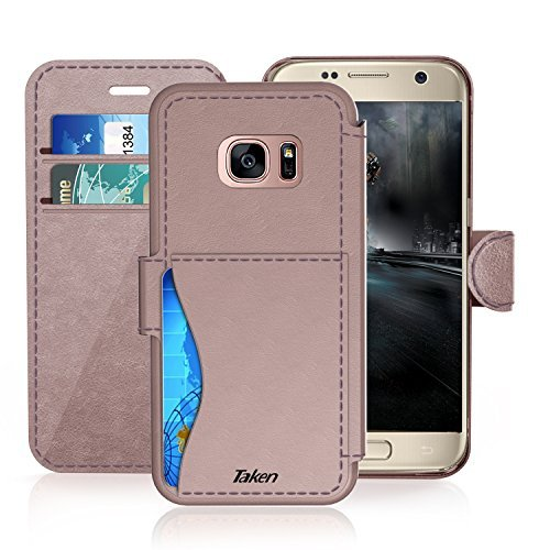 Samsung Galaxy S 7 Leather Wallet Case with Credit Cards Slot and Metal Magnetic Clip, TAKEN Galaxy S7 Plastic Flip Case/Cover, Vintage and Fashion, Durable and Shockproof Holster (Rose Gold) 2016