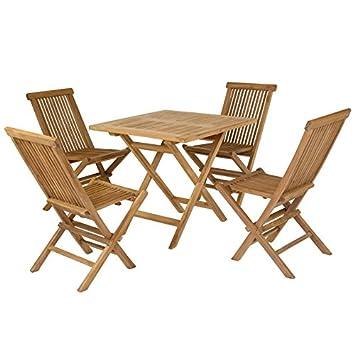 Estiltenda Collection Mesa plegable y 4 sillas teca: Amazon ...