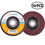 "120 Grit Sanding Flap Discs by LotFancy, 4.5"" x 7/8"" Aluminum Oxide Abrasive Grinding Wheels, Pack of 10, Type #27"