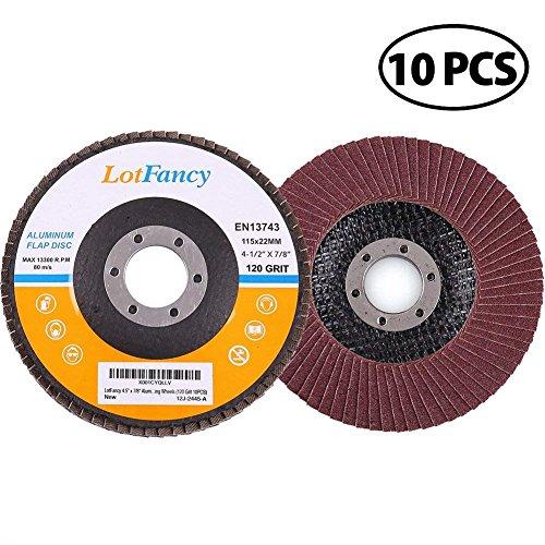 "120 Grit Sanding Flap Discs by LotFancy, 4.5"" x"