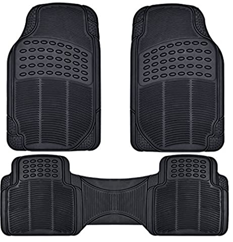 BDK Front and Back ProLiner Heavy Duty Rubber Floor Mats for Auto, 3 Piece Set (2004 Infiniti M45)