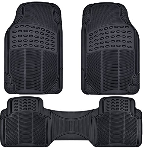 BDK Front and Back ProLiner Heavy Duty Rubber Floor Mats for Auto, 3 Piece Set
