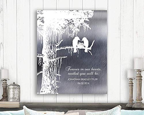 Memorial Loss of Baby Child Stillborn Nestled in Our Hearts Personalized Sympathy Gift of Condolence #1353 Paper Print ()