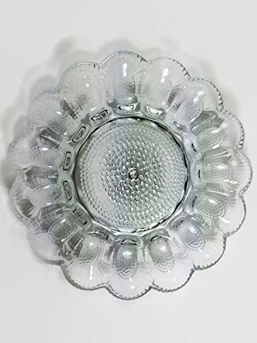 Crystal Egg Serving Plate Holds 15 Eggs Indiana Glass Glass Plates
