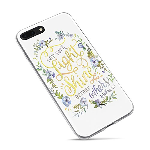 iPhone 6 Plus Case,iPhone 6s Plus Cute Case,Flowers Girls Bible Verses Quotes Christian Inspirational Motivational Matthew 5:16 Let Your Light Shine Lord Soft Case for iPhone 6 Plus/6s Plus